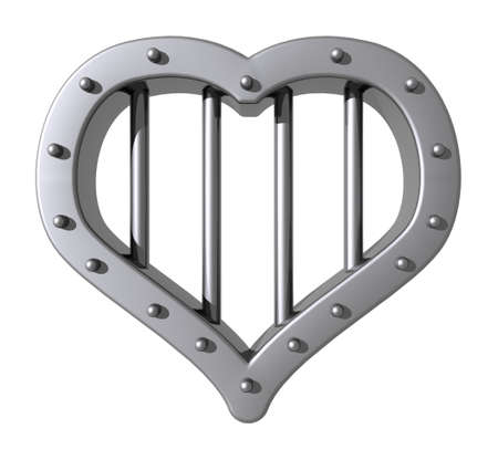prisoner of love: heart prison window on white background - 3d illustration
