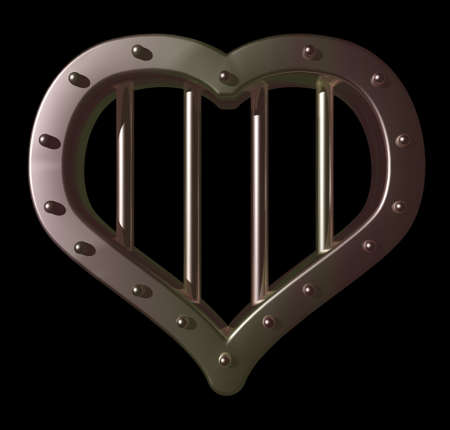 security council: heart prison window on black background - 3d illustration