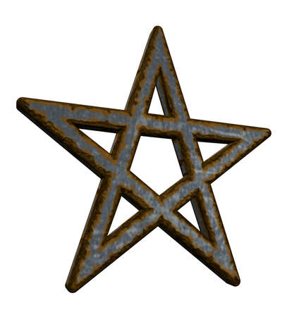 neopaganism: rusty pentacle on white background - 3d illustration