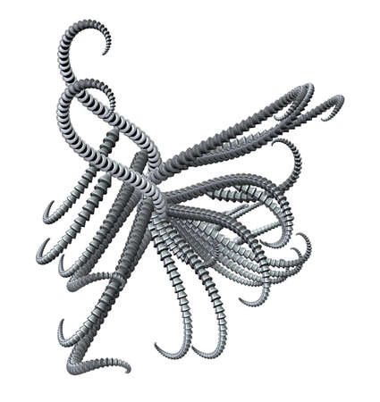 tentacle: abstract metal tentacle thing - 3d illustration