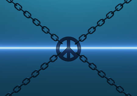 disarmament: chains with metal peace symbol on blue background - 3d illustration