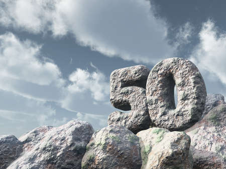 fifty: number fifty rock under cloudy blue sky - 3d illustration