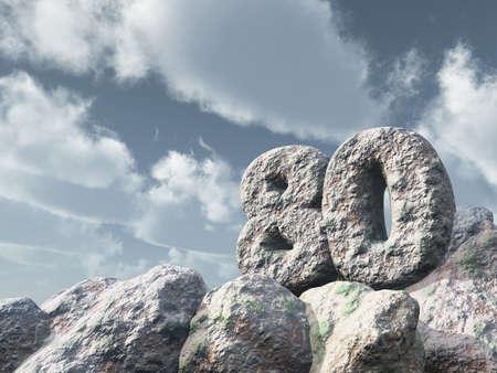 achtzig: Zahl achtzig Felsen unter bew�lkten blauen Himmel - 3d illustration