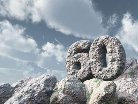 sixty: number sixty rock under cloudy blue sky - 3d illustration Stock Photo