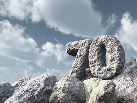 seventy: number seventy rock under cloudy blue sky - 3d illustration