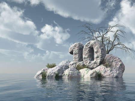 number ten: n�mero diez de roca en el agua - 3d ilustraci�n Foto de archivo