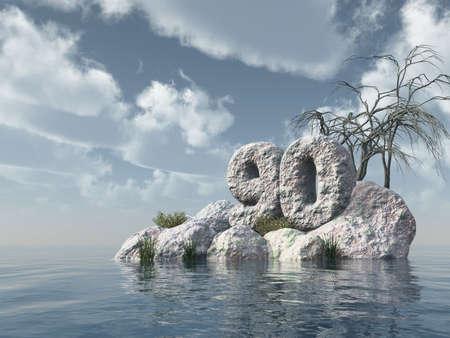 ninety: number ninety rock at water - 3d illustration