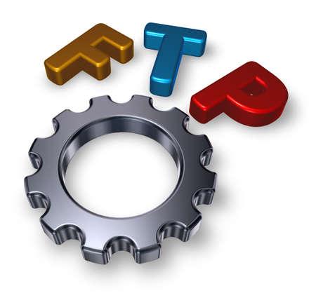 gearwheel: ftp tag and gearwheel Stock Photo