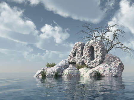 forty: number forty rock at water - 3d illustration