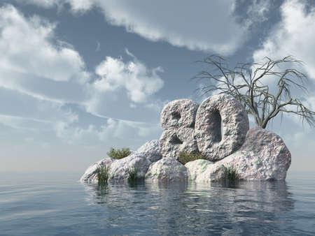 achtzig: Zahl achtzig Felsen am Wasser - 3d illustration
