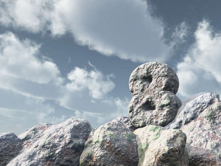 number eight rock under cloudy blue sky - 3d illustration