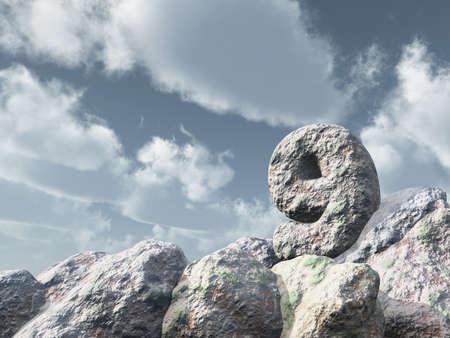 on cloud nine: number nine rock under cloudy blue sky - 3d illustration