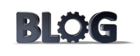 weblog: the word blog with gear wheel - 3d illustration