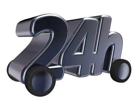 24h: 24h on wheels - 3d illustration Stock Photo