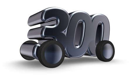 hundred: the number three hundred on wheels - 3d illustration Stock Photo