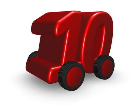 numero diez: el número diez en la ilustración de ruedas - 3d