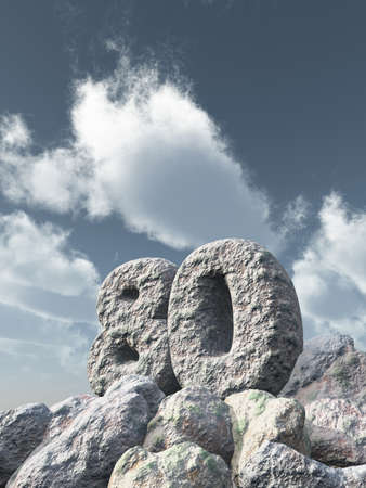 eighty: number eighty rock under cloudy blue sky - 3d illustration