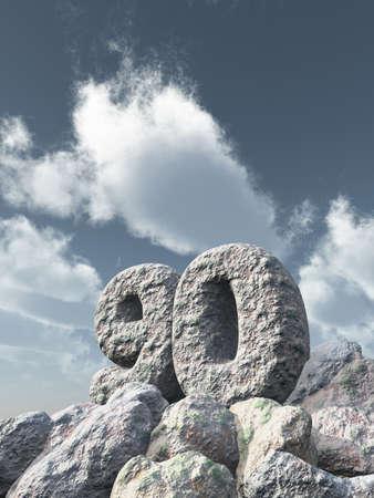 number ninety rock under cloudy blue sky - 3d illustration