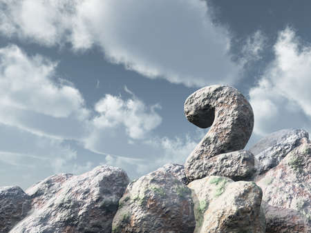two years: number two rock under cloudy blue sky - 3d illustration