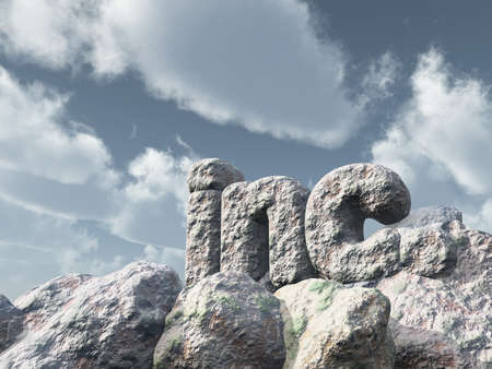corporations: the letters inc. in front of blue cloudy sky - 3d illustration