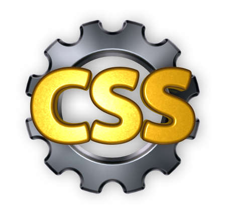 css: letters css and cogwheel - 3d illustration Stock Photo