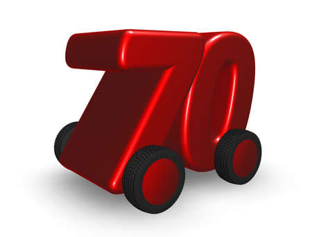 seventy: il numero di settanta su ruote - illustrazione 3d Archivio Fotografico
