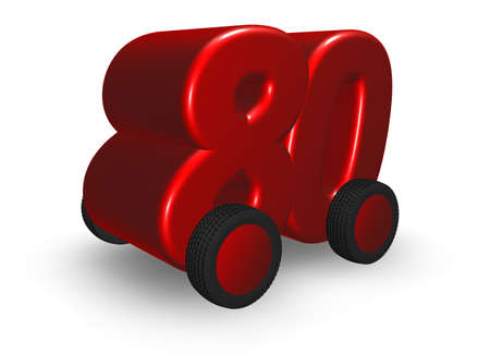 eighty: the number eighty on wheels - 3d illustration