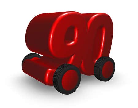 ninety: the number ninety on wheels - 3d illustration