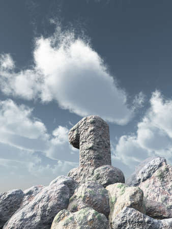 one year: number one rock under cloudy blue sky - 3d illustration Stock Photo