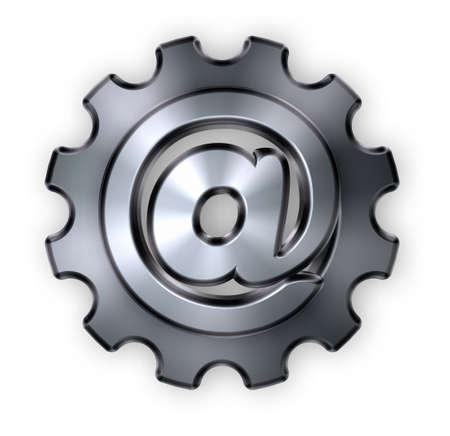 metal mailbox: gear wheel with email alias inside - 3d illustration