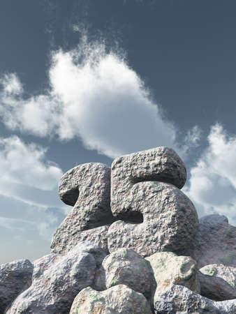 twenty five: number twenty five rock under cloudy blue sky - 3d illustration Stock Photo