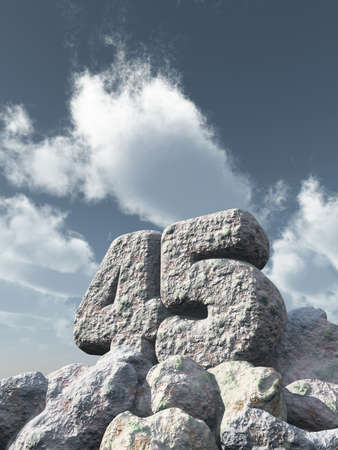forty: number forty five rock under cloudy blue sky - 3d illustration Stock Photo