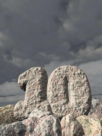 number ten: number ten rock under cloudy sky - 3d illustration Stock Photo