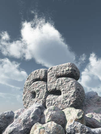 sixty: number sixty five rock under cloudy blue sky - 3d illustration