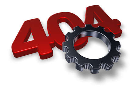 not found: error 404 page not found - message and gear wheel - 3d illustration Stock Photo