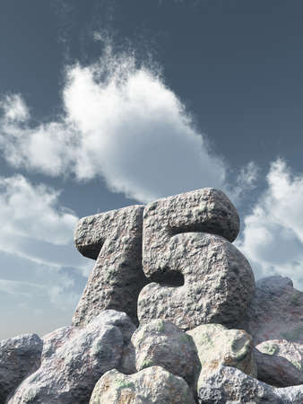 seventy: number seventy five rock under cloudy blue sky - 3d illustration Stock Photo