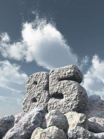 eighty: number eighty five rock under cloudy blue sky - 3d illustration Stock Photo