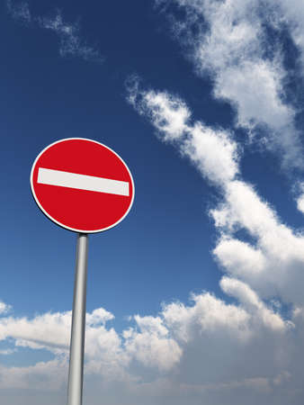 do not enter: do not enter - roadsign under cloudy blue sky - 3d illustration Stock Photo