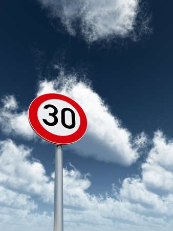 speed: roadsign speed limit thirty under cloudy blue sky - 3d illustration