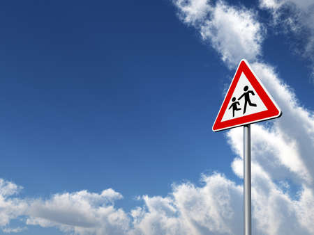 obey: attention childrens roadsign under cloudy blue sky - 3d illustration