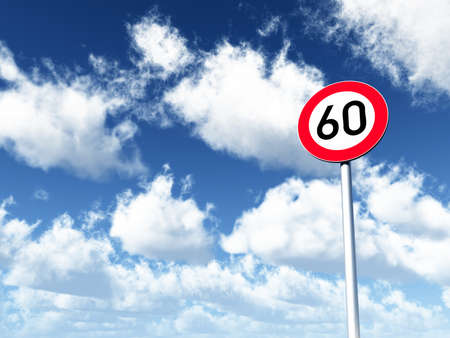 sixty: roadsign speed limit sixty under cloudy blue sky - 3d illustration