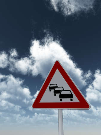 road sign traffic jam under cloudy blue sky - 3d illustration