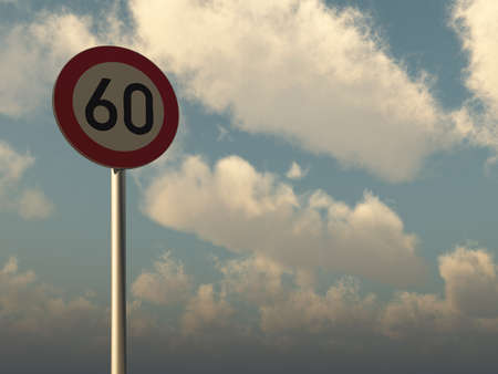 sky is the limit: roadsign speed limit sixty under cloudy blue sky - 3d illustration