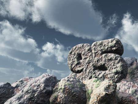 ninety: number ninety five rock under cloudy blue sky - 3d illustration