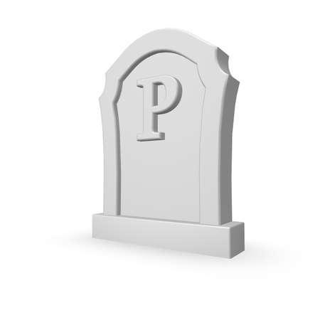 uppercase: gravestone with uppercase letter p on white background - 3d illustration