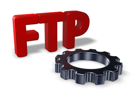 gearwheel: ftp tag and gearwheel - 3d illustration