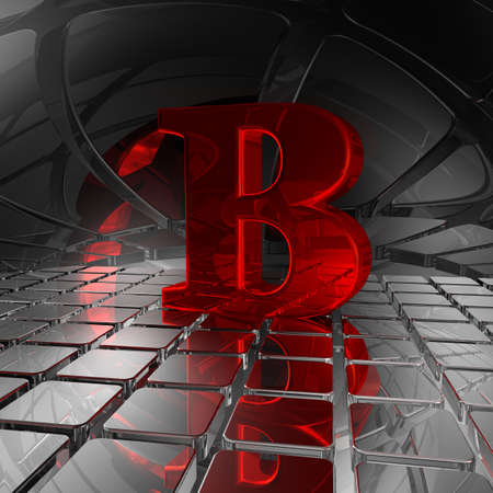 uppercase: red uppercase letter b in futuristic space - 3d illustration