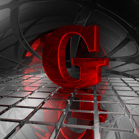 uppercase: red uppercase letter g in futuristic space - 3d illustration Stock Photo