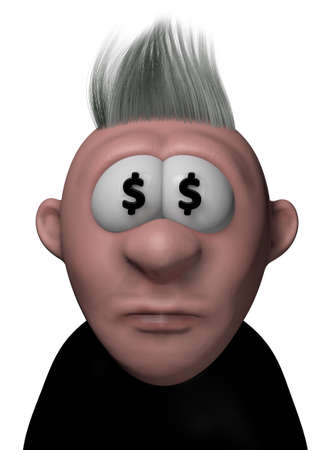 cartoon guy with dollar symbols in his eyes - 3d illustration Stock Photo