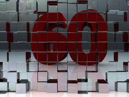 age 60: wall of metal cubes reflect number sixty - 3d illustration